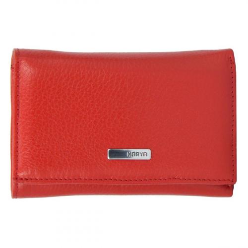 Кошелек красный маленький кожаный KARYA 1063/301К