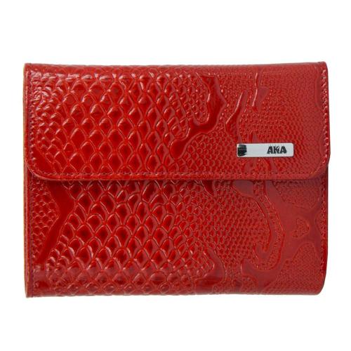 Кошелек женский маленький кожаный красный AKA 445/309К