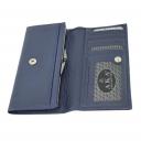 Кожаный кошелек женский синий AKA 461/401К