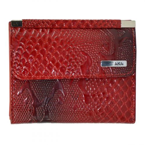 Кожаный кошелек женский красный с черным AKA 439/309-109К