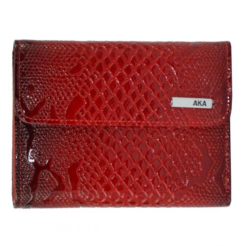 Женское портмоне из натуральной кожи красный AKA 445/309-109К