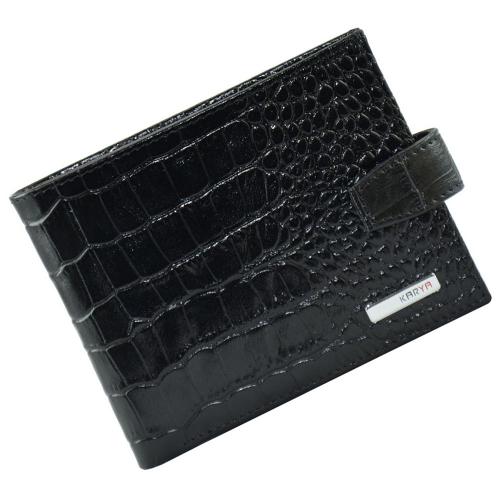 Гаманець чоловічий чорний з текстурою шкіри крокодила KARYA 0411/104К