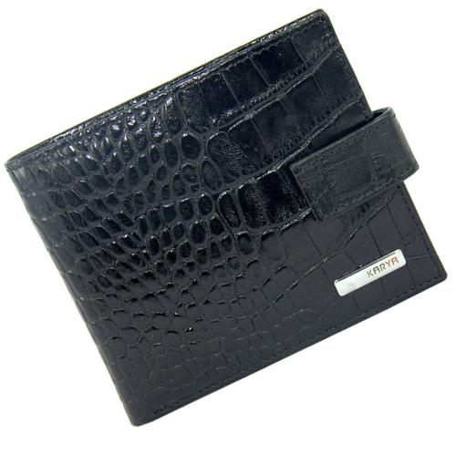 Гаманець чоловічий шкіряний чорний під крокодила KARYA 0457/104К