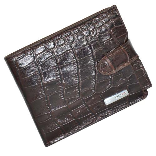 Кошелек для документов мужской кожаный коричневый под крокодила KARYA 0949/204К