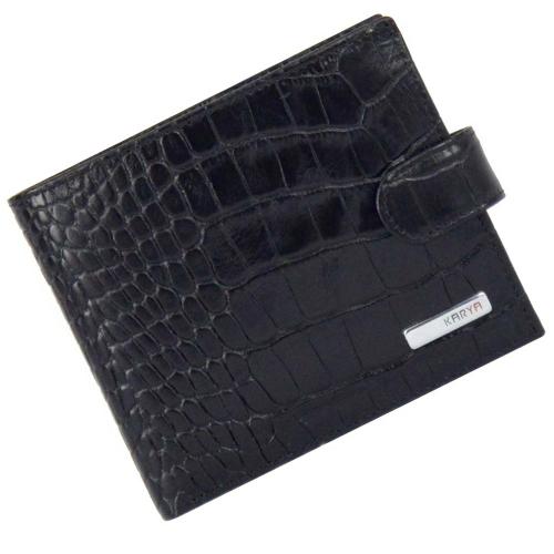 Кошелек мужской кожаный черный крокодил KARYA 0431/104К