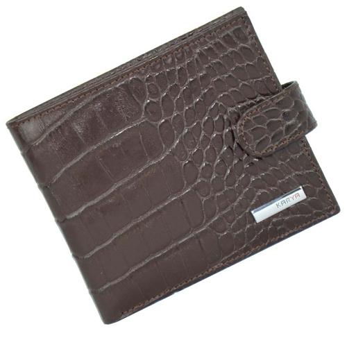Кошелек мужской кожаный коричневый под крокодила KARYA 0431/204К