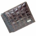 Кошелек мужской с зажимом для купюр кожаный коричневый под крокодила DESISAN 10/205К