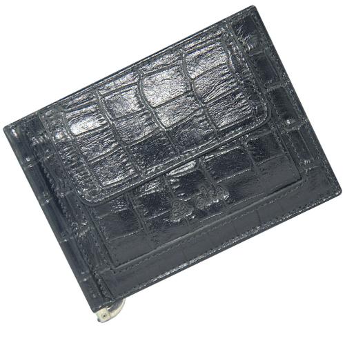 Кошелек портмоне кожаный с зажимом черный глянцевый под кожу крокодила AKA 12/105К