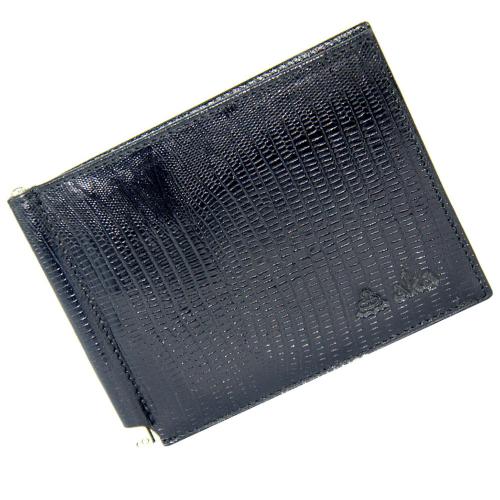 Кошелек с зажимом кожаный черный под варана AKA 10/106К
