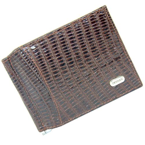 Кошелек зажим мужской кожаный коричневый под варана DESISAN 10/207К