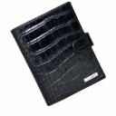 Кожаное мужское портмоне черное под крокодила KARYA 0913/104К