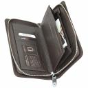 Мужское портмоне клатч из натуральной кожи коричневое на молнии с ручкой KARYA 1126/201К