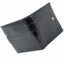 Портмоне кожаное черное с тиснением под крокодила AKA 511/105К